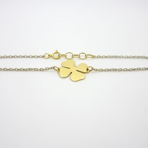 18k Two Tone Four Leaf Clover Bracelet