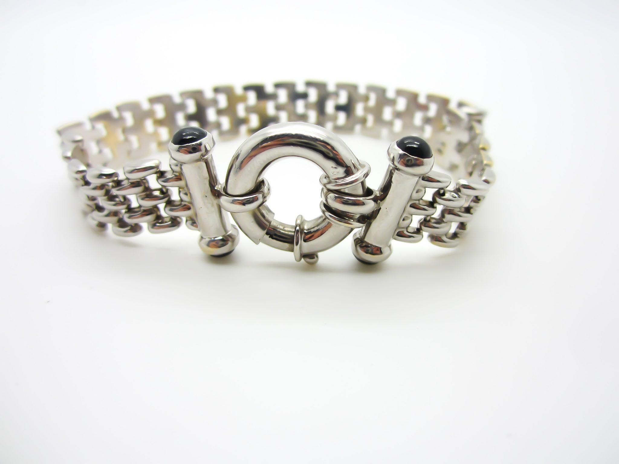 f7a14a994 14k White Gold Panther Link Bracelet | G&G Jewellery