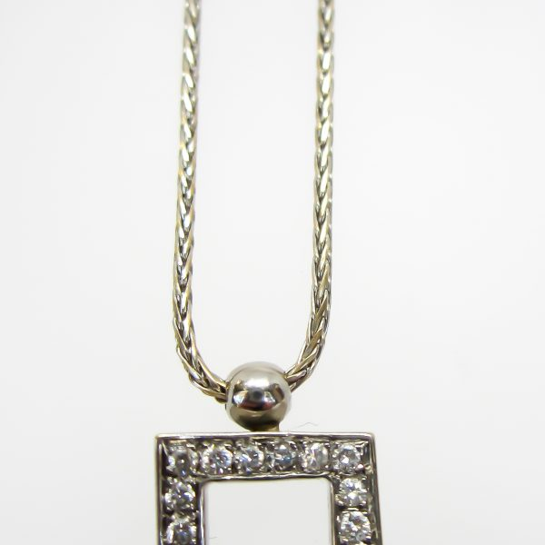 18k White Gold Diamond Pendant and Chain