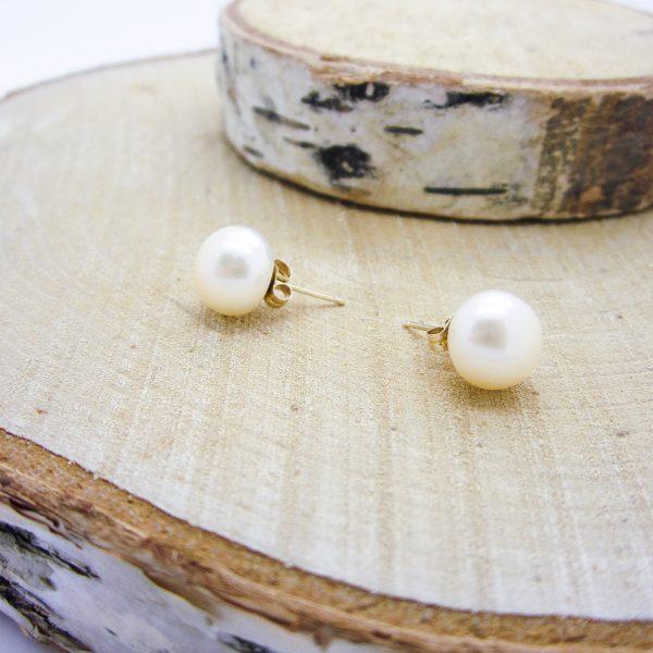 14k Large Pearl Stud Earrings