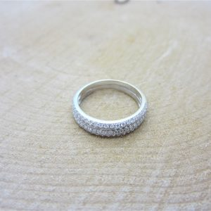 18k White Gold Double Pave Set Diamond Band