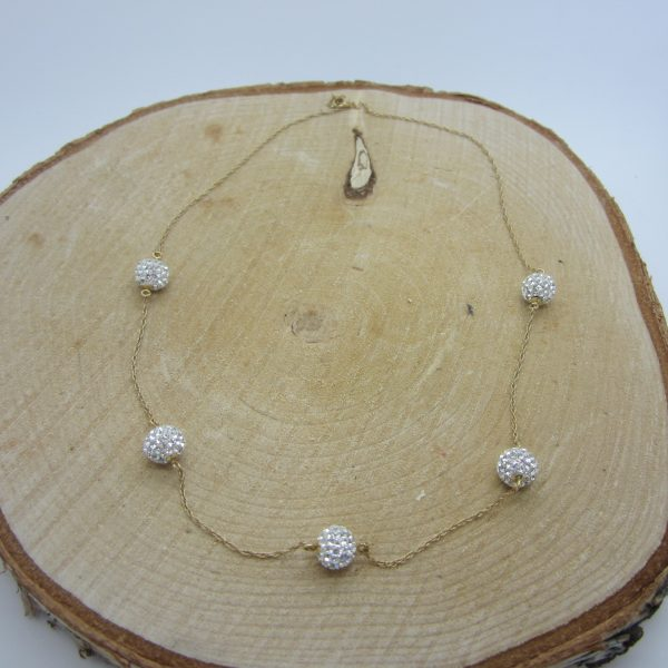 10K RHINESTONE BALL NECKLACE