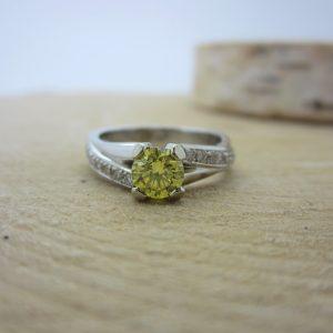 """14K White Gold """"New Rock"""" Diamond Ring"""