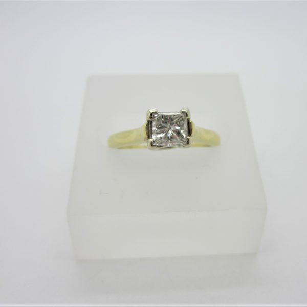 14K Yellow Gold Princess Cut Diamond Ring