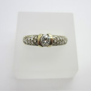 14K White Gold Channel Centre Diamond Ring