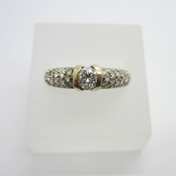 14K White Gold Channel Centre Diamond Ring