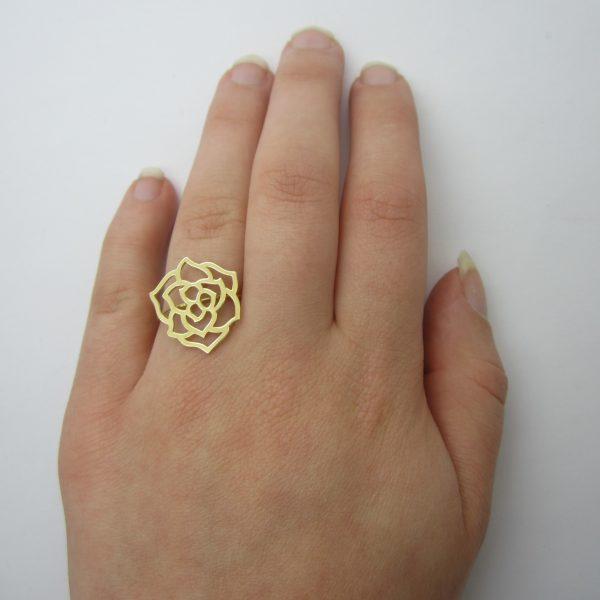 18K Yellow Gold Flower Ring