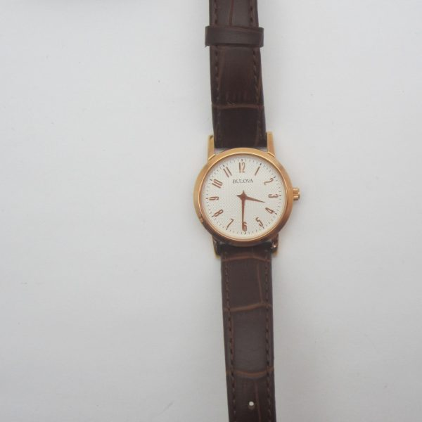 Ladies Bulova Leather Strap Watch
