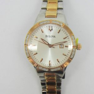 Ladies Two Tone Bulova Watch with Diamonds