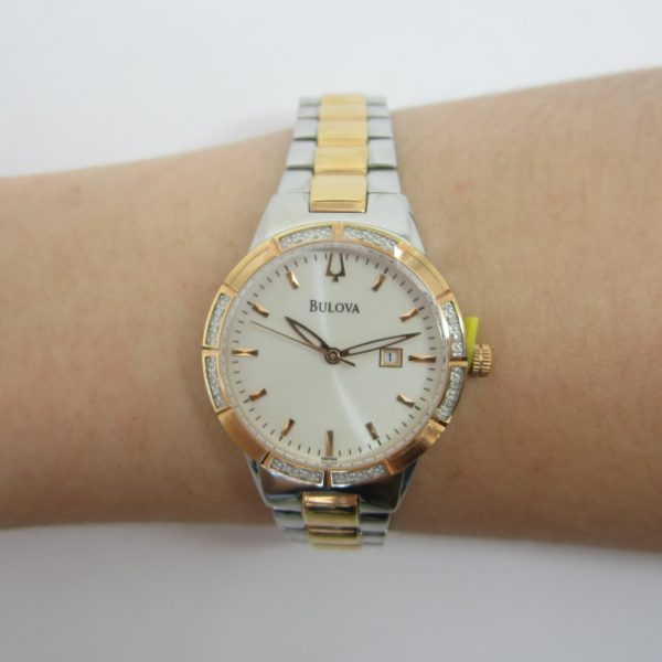 Ladies Two Tone Bulova Watch with Diamonds