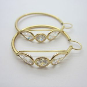 10K Yellow Gold Cubic Hoop Earrings