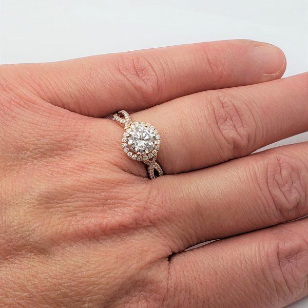 14K Rose Gold Cubic & Diamond Engagement Ring