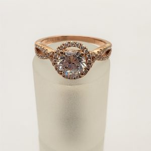 14K Rose Gold Cubic & Diamond Engagement Ring