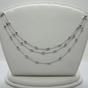 10K White Gold Three Strand Necklace, Bella Rosa Necklace, Diamond Cut