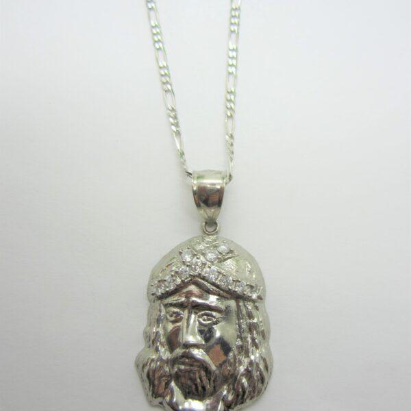 10K White Gold Jesus Pendant, CZ Pendant
